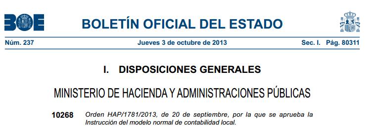 Orden HAP/1781/2013 contabilidad