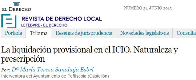 La liquidación provisional en el ICIO. Naturaleza y prescripción