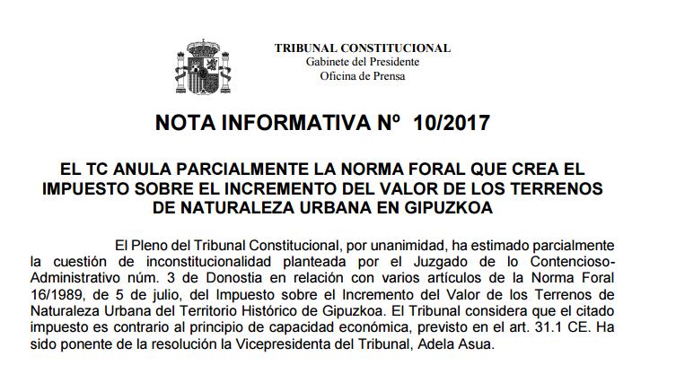 El Tribunal Constitucional y las plusvalías sobre venta terrenos #IIVTNU